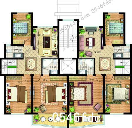 四层复式住宅 二层平面图图片
