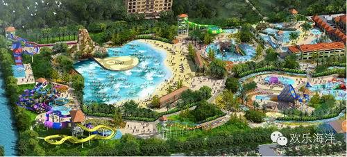 广饶欢乐海洋游乐园鸟瞰图   欢乐海洋项目前期投资5个亿,园地占地
