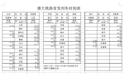 德大铁路首发列车时刻表-东营发往北京K1768次列车硬座票价为81元图片