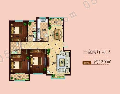 【美园花满庭】130㎡三室两厅两卫户型图