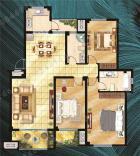 东营花半里【花半里】洋房标准层A户型 三室两厅两卫 130㎡