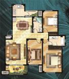 东营花半里【花半里】洋房标准层B户型 三室两厅两卫 130㎡