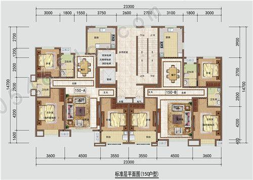 二期高层 150㎡户型图 三室两厅两卫