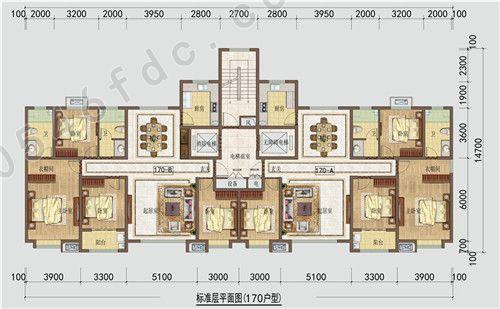 二期高层 170㎡户型图 四室两厅两卫