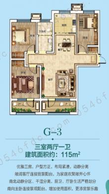 【胜宏荣域】悦湖湾洋楼新品g-3:115㎡户型图
