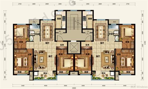 【祥泰锦绣新城】105㎡三室两厅一卫户型图图片