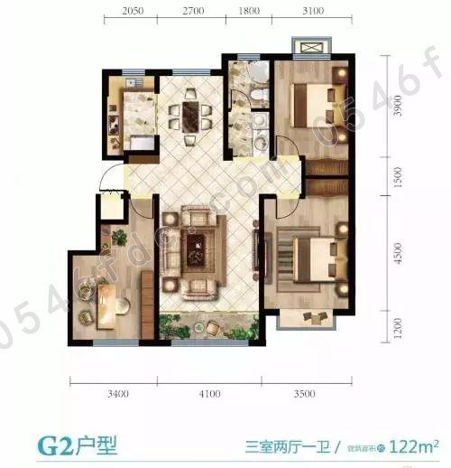 【海通花语城】122㎡三室两厅一卫户型图