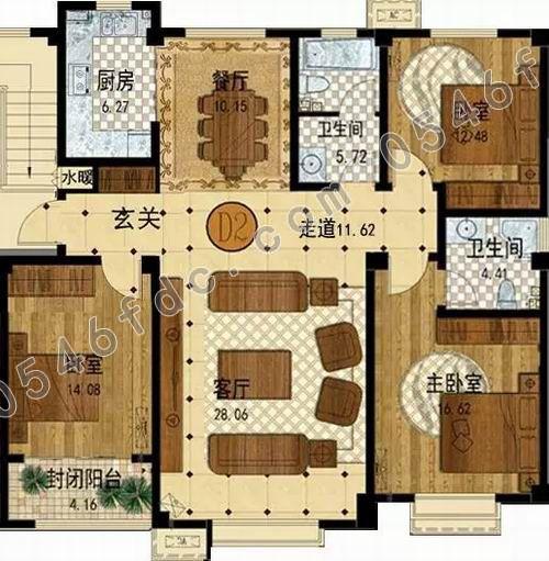 【金辰胜泰花苑】建面约140㎡三室两厅两卫户型图