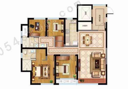 户型格局三室两厅两卫-四室两厅两卫,方正户型,双卧朝阳,南北通透