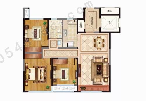 神1 建面约112㎡三室两厅一卫户型图