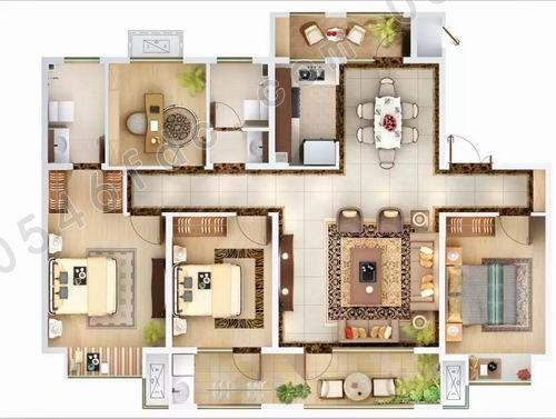 b户型|143㎡四室两厅两卫户型图