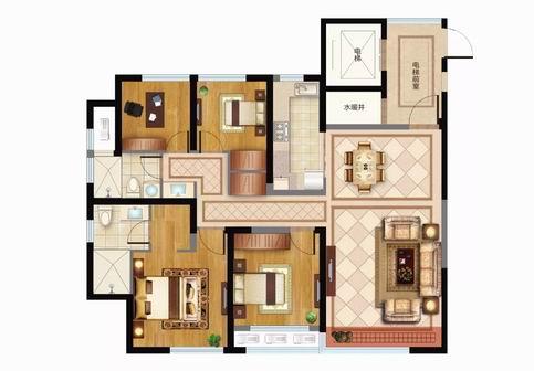 神7建筑面积约140㎡四室两厅两卫户型图