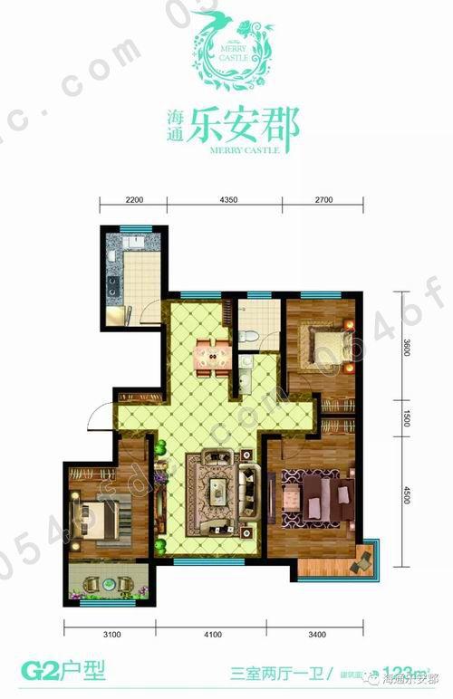 g1户型 112㎡三室两厅一卫户型图