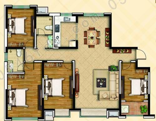 180㎡四室两厅两卫户型图