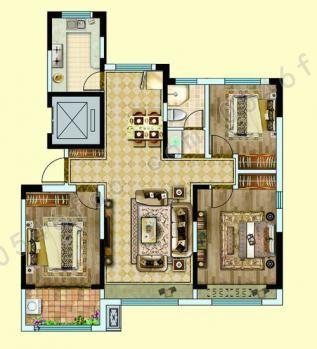 B2户型建面约113㎡ 三室两厅一卫