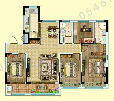 A户型 建面约105㎡ 三室两厅一卫