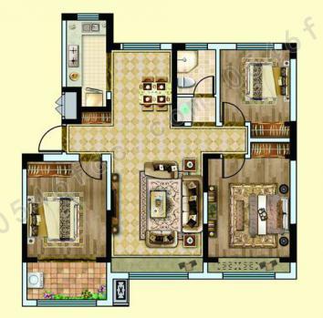 C1建面约120㎡ 三室两厅一卫