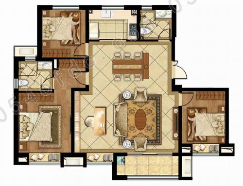 1米大开间,可做四室功能设计, 亦可享受宽境大宅,做孩子玩具区或书写