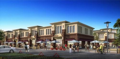【邦德小镇】特色商业街3#东南向透视图