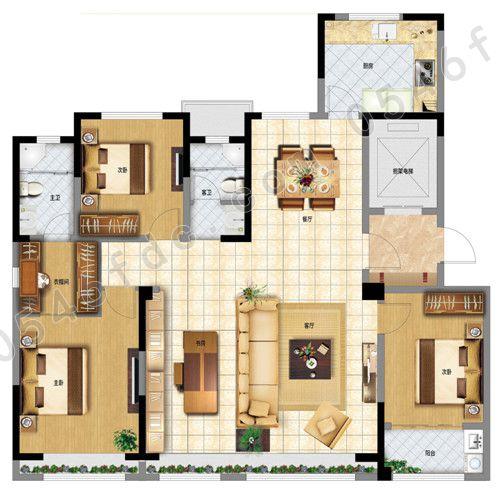 f户型162㎡三室两厅两卫