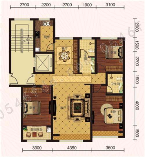130㎡三室两厅两卫户型