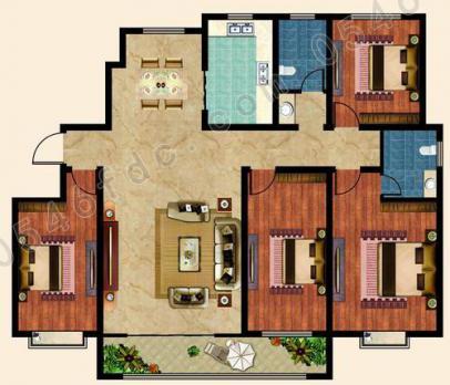 齐龙悦翔学府190㎡四室两厅两卫户型